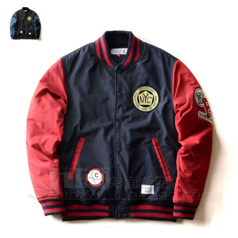 Fashion Clothing For Men Embroidery badge pocket Mixed colors O Neck baseball coat Quilted Wadded hip hop jacket Slim Outerwear