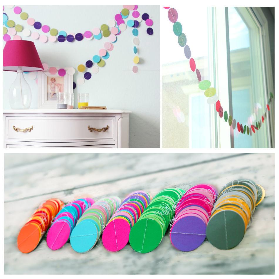 Fun Colorful Hanging Paper Garlands Flora String Wedding Party Baby Kids Decoration Round Shape New