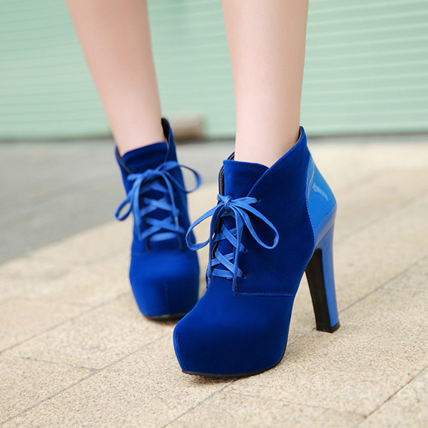 Fall winter 2014 new women's boots European  round head Ankle boots Martin boots Rough high heel platform Shoe XY210