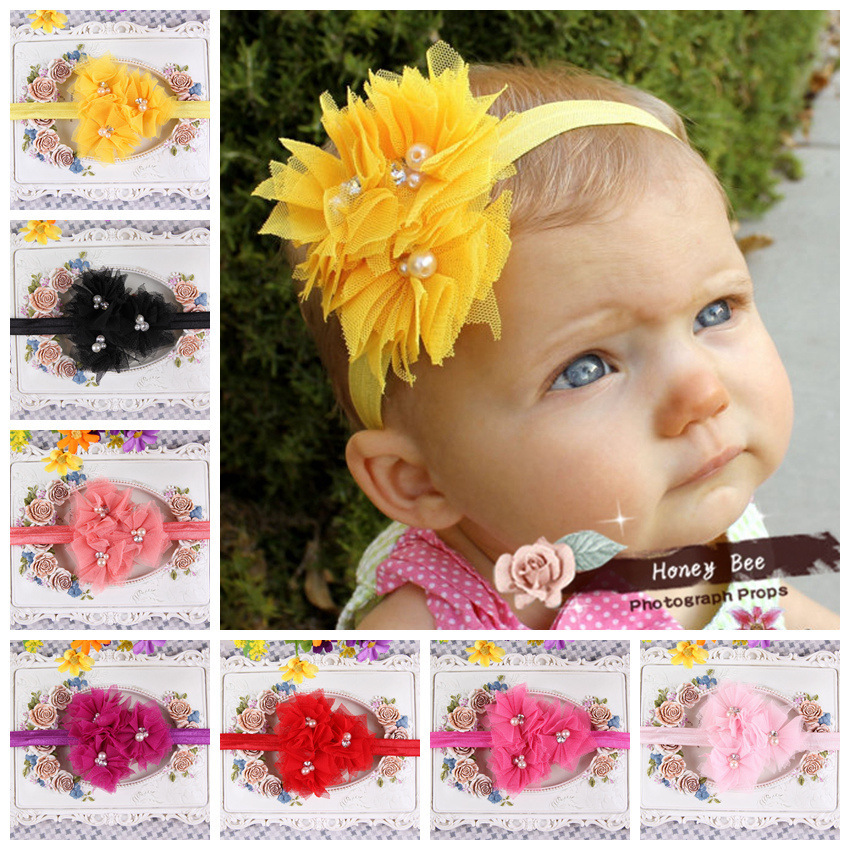 Wholesale 2014 new hair band with a combination of hand-stitched mesh flower headband with Pearl design(China (Mainland))