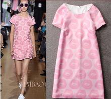 New 2016 women's Spring and summer fashion ladies big European stations pink lips wild round neck short sleeve print dress S-XL(China (Mainland))