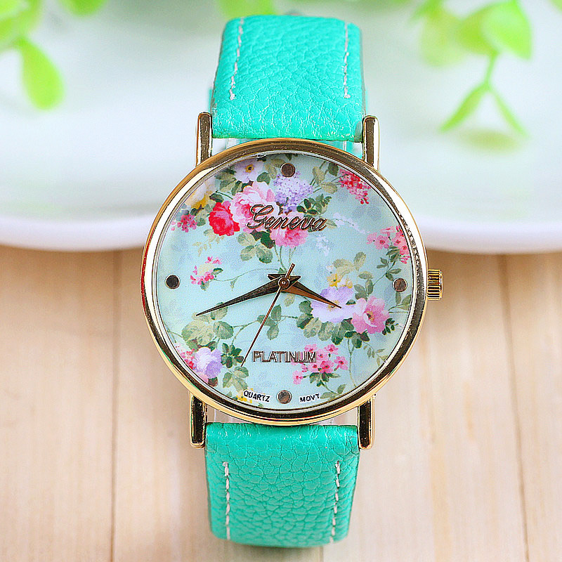 Women Quarzt Watch Flower Geneva Leather Strap Rose Floral Dress Reloj Mujer 1piece/lot BW-SB-735 - Q-Star Fashion Store (min order 1pc store)