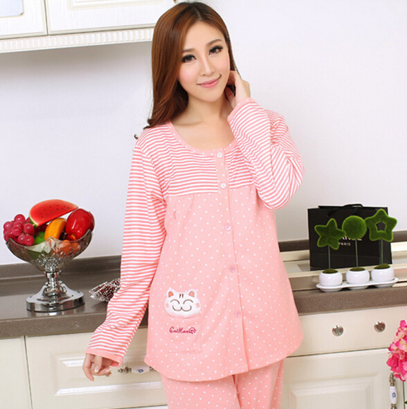 Lowest cute nursing nightwear plus size breastfeeding nightdress long sleeve pregnant pajamas set free shipping