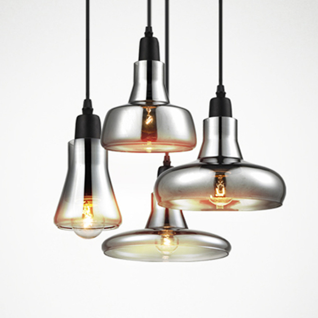 Старинные стеклянные светло-серого цвета, Ясно цвет, Янтарный цвет подвесные светильники с лампами накаливания 110 В / 220 В из светодиодов подвесные светильники