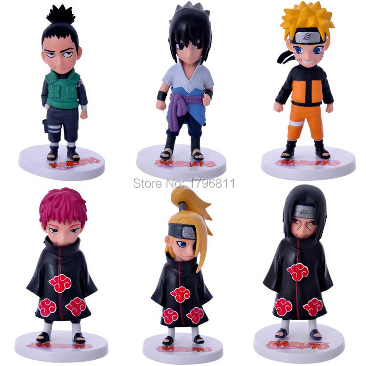 Anime Model Figure Naruto Nara Shikamaru/Deidara 6PCS/lot Doll Toy Uchiha Itachi Garage Kits(GK) Collector Figure Toys(China (Mainland))