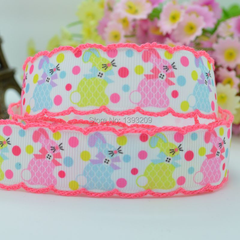 """Free shipping 7/8"""" 22mm Easter Rabbit Crochet stitched Printed Grosgrain Ribbon,With Pink Edges hair bow wholesale 50yards(China (Mainland))"""