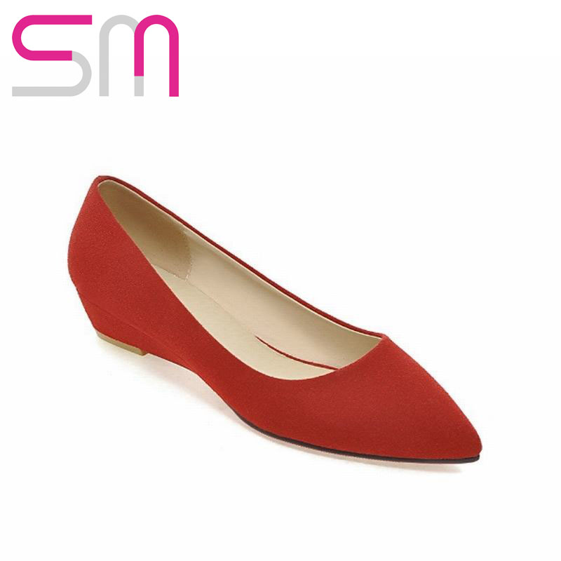 Big Size 33-43 Half Red Bottom High Heels 2016 New Pointed Toe Pumps Elegant Flock Women Pumps Summer Wedges Heels Shoes Woman