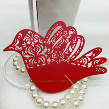Buy ZLJQ 100pcs/lot Fliying Bird Paper Wine Glass Place Card Wedding Table Decoration Accessonries Party Meet Shower Supplies 6D for $10.16 in AliExpress store