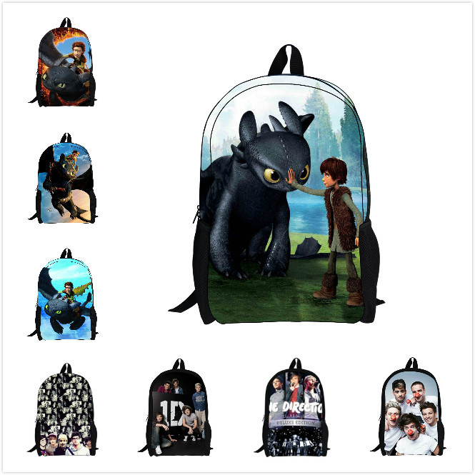 New 2015 kids backpack for boys supreme cartoon how to train your dragon backpack for school children canvas mochila school bags(China (Mainland))