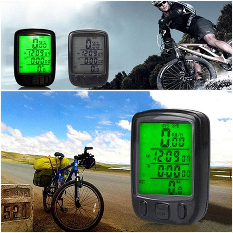 Waterproof LCD Display Cycling Bike Bicycle Computer Odometer Speedometer Green Backlight - AlihPark store