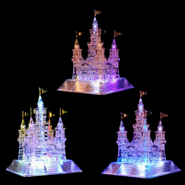 2016 New kid's Educational Toy Crystal Castle 3D Puzzle Music Flash Model DIY Castle Early Learning Toy Puzzles for children(China (Mainland))