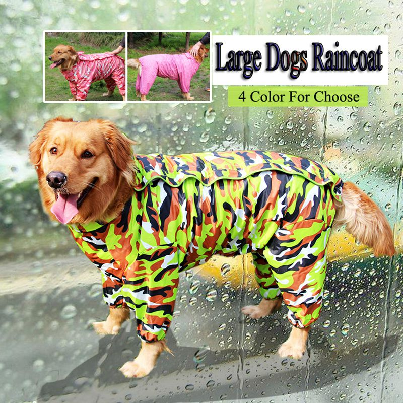 Large Dog raincoat for Big dogs outdoor clothing waterproof pet clothes coat With hat Size 20 - 30 Red Blue and Green(China (Mainland))