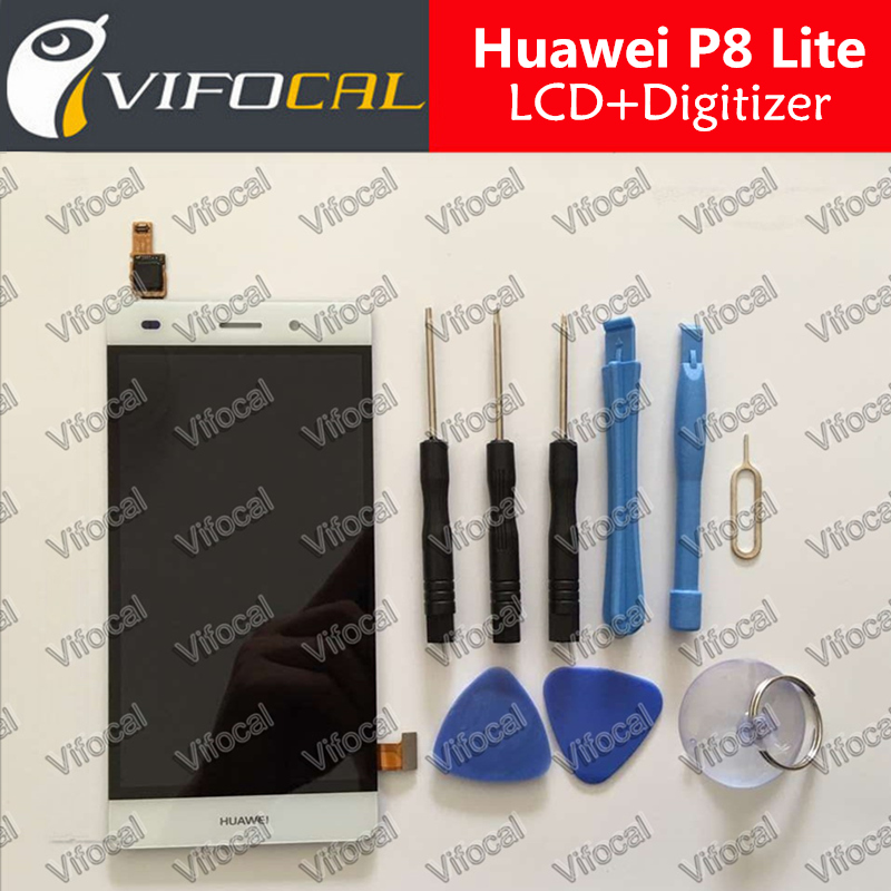 Huawei P8 Lite LCD Display + Touch Screen + Tools 100% Original Digitizer Assembly Replacement For Huawei Cell Phone - White