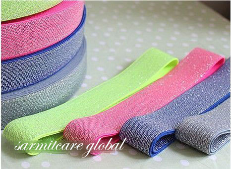 3071003 - 3cm Width 20 Yds./lot Mixed Colors Bright Elastic Strap Elastic Rubber Band Belt Cummerbund Shinned Tape Free Shipping(Hong Kong)