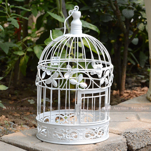 White Birdcage Wedding Gift Card Holder Wishing Well : ... White-Trefoil-round-bird-cages-iron-birdcages-Wedding-Gift-Card-Holder