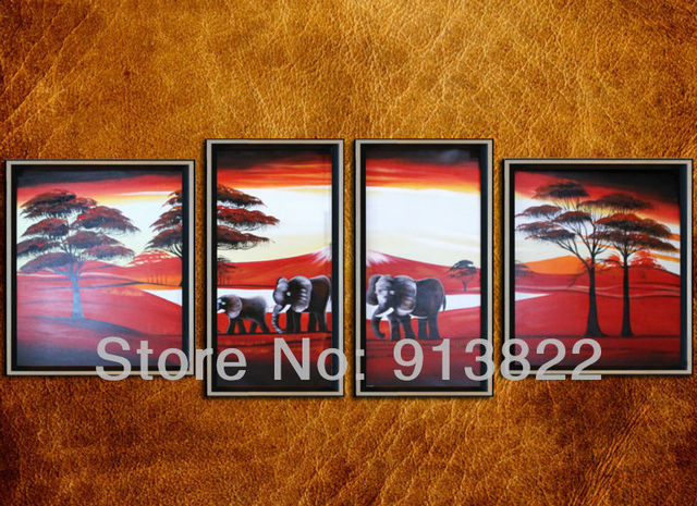 Free Shipping Modern art Oil Paintings Home improvement Handmade Gift 4 pcs/set