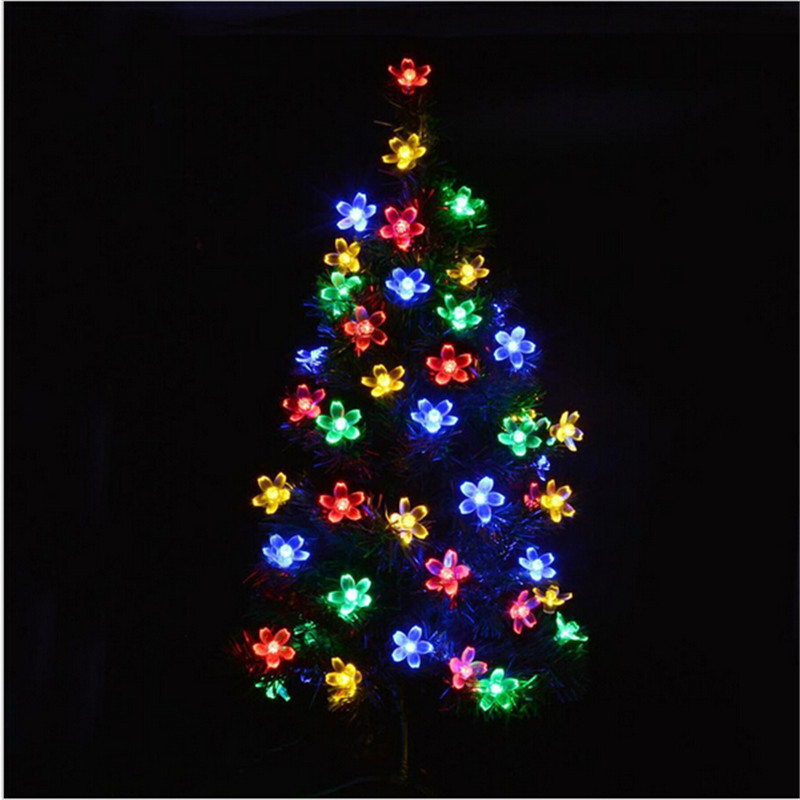 Battery Operated Cherry Flowers LED String Lights 50LEDS for All Festivals Holidays Decoration Lighting Lamps Lights Luces(China (Mainland))