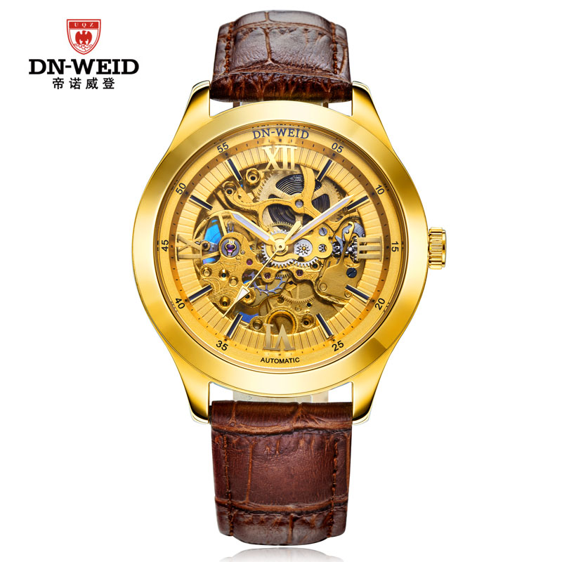DN-WEID watches men luxury brand automatic mechanical watch male hollow men leather brown relogio masculino<br><br>Aliexpress