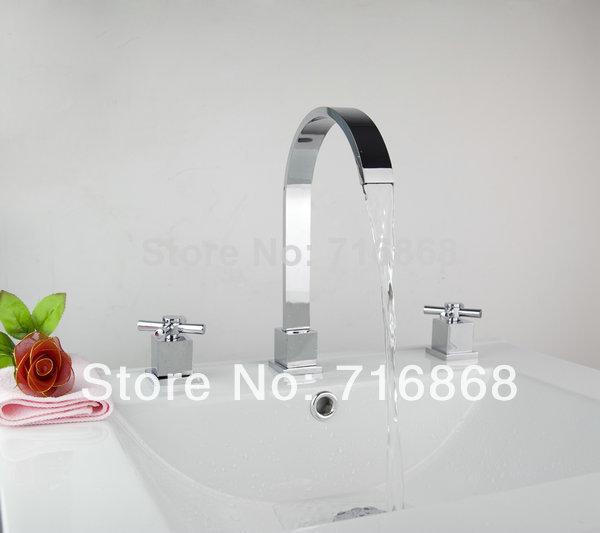 Bathroom Chrome Finish Brass Dua Holder Dual Control Bathtub Faucet 3pcs Set DS-37K(China (Mainland))