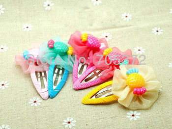 20Pcs/Lot Girls Beautiful 4cm Hair Clip Lovely Fabric Resin Candy Flower Hair Clip Claws Princess Hari Accessories Free Shipping