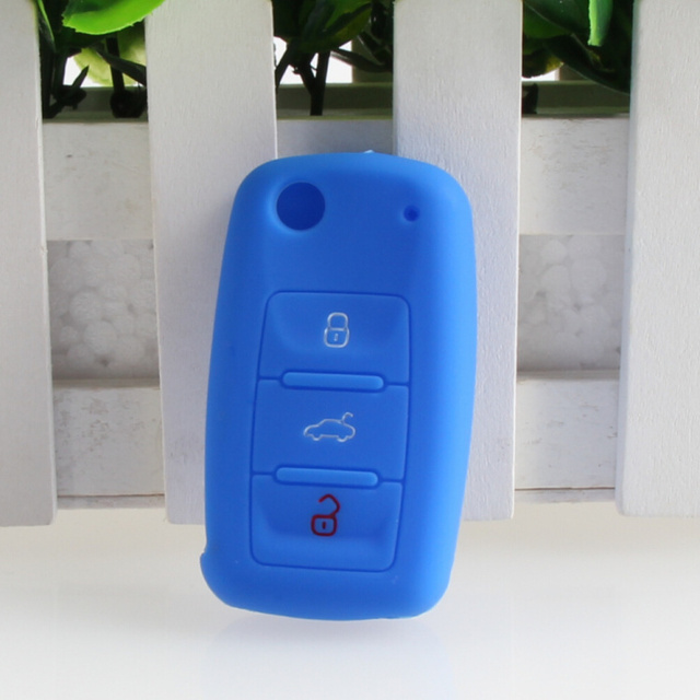 Silicone car key cover For Skoda Octavia A5 Fabia Superb Yeti Rapid Citigo 3 Buttons fold key car styling