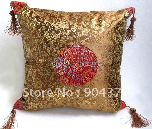 Vintage Tassel Dragon Design Cushion Cover Smooth Decorative Silk Brocade Pillow Case 18 inch 2piece/pack Free shipping(China (Mainland))