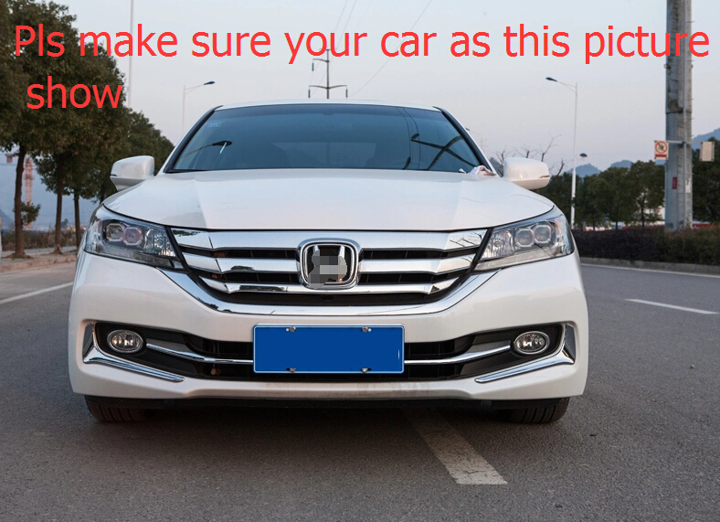 4pcs! Chrome Front Bottom Grill Cover & Fog Lamp Eyebrow Cover Trims For Honda Accord 2013 2014(China (Mainland))