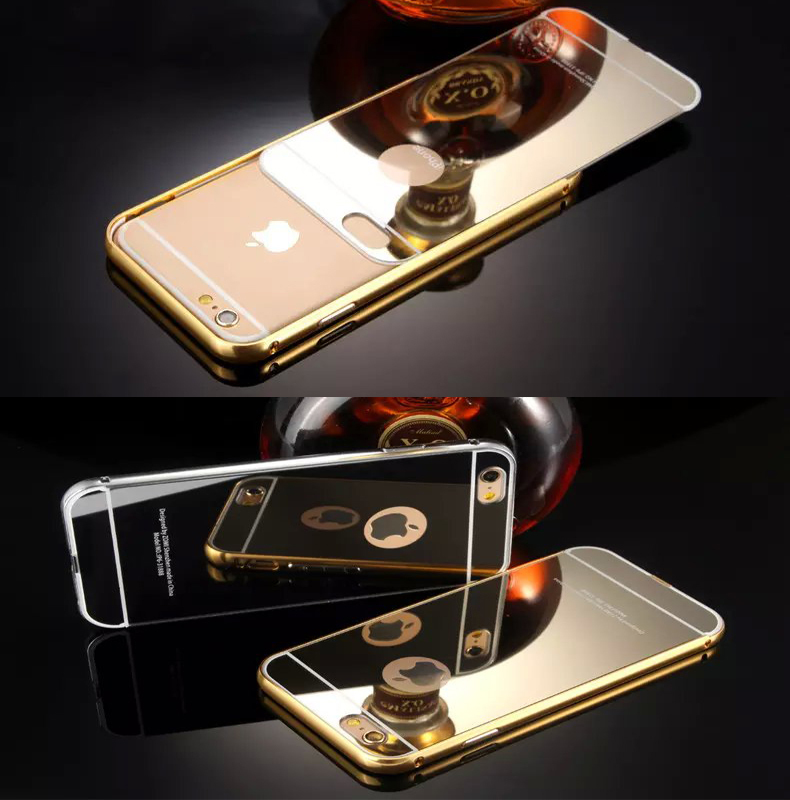 High Quality Aluminum Frame+ Acrylic Panel Mirror Back Cover Cases for iPhone 6 4.7Inch Luxury Hybrid Ultrathin Phone Shell Case(China (Mainland))
