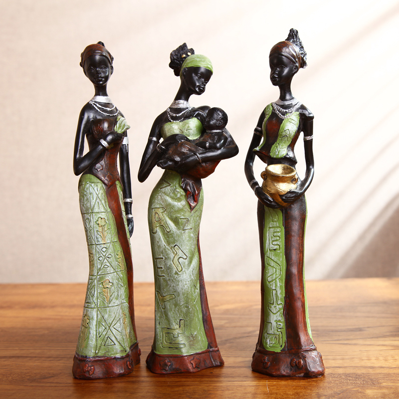 Home Decoration Resin Figurine Statue Craft Ornament Gift African Women Statue Decorative Handcraft Yellow And Green