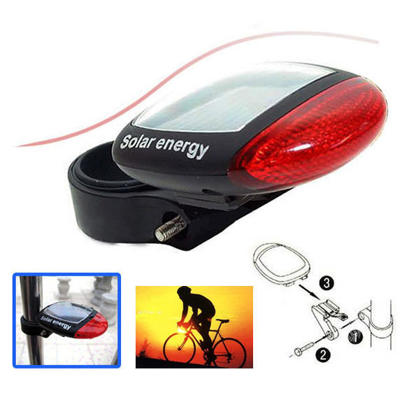Solar Power LED Bicycle Bike Rear Tail Lamp Light Red NIVE - neverdefine store