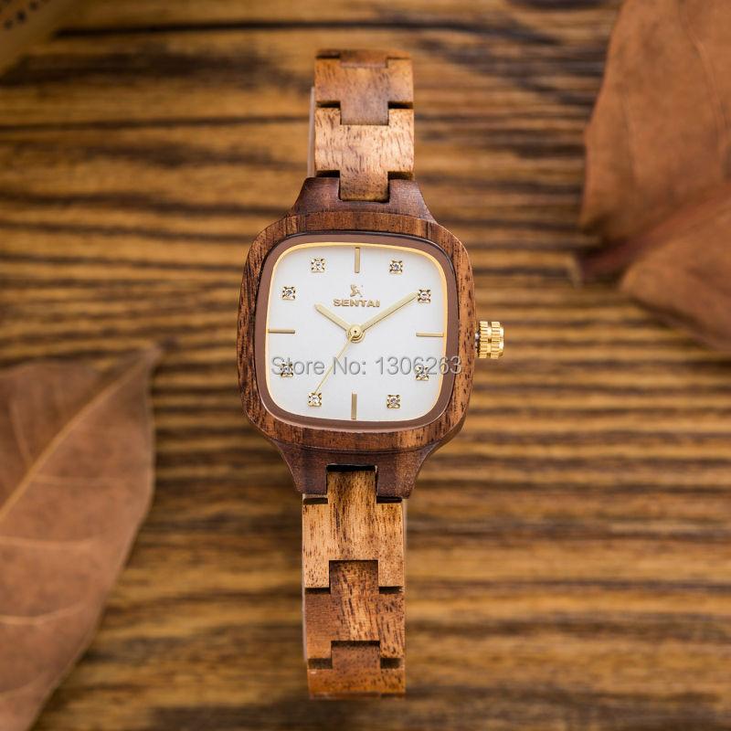 Special wood design Women's Wooden Watch 28mm Small Size Ladies Quartz Wood Wristwatch Luxury Diamond Wood Watch