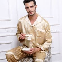 XMAS Gift!  Mens Silk Satin Pajamas Set Pajama Pyjamas PJS Set  Sleepwear Loungewear S~4XL Plus(China (Mainland))