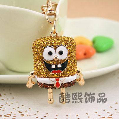 Cool hee jewelry creative Korea full diamond lovely SpongeBob SquarePants exquisite bag ornaments key chain ring of creative gif