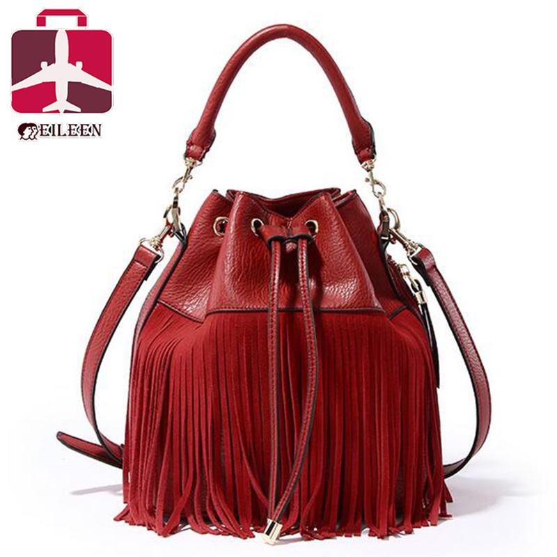 Small bucket women tote bag 2016 tassels genuine leather bag women messenger bags famous brand designer handbags high quality S8(China (Mainland))