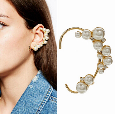 Pearl Ear Cuff Earrings Punk Vintage Clip On Earrings For Women Earcuff Clip Earrings Fashion Jewelry Wholesale(China (Mainland))