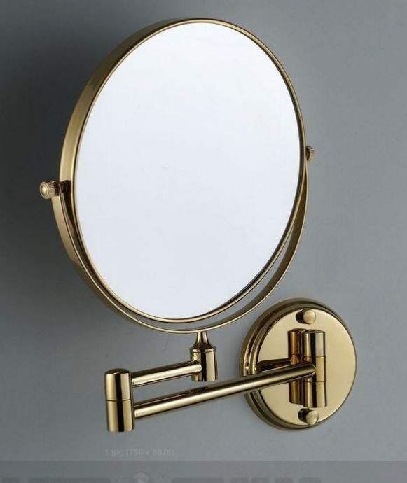Gold 8 Double Side Bathroom Folding Brass Shave Makeup Mirror Chromed Wall Mounted Extend With