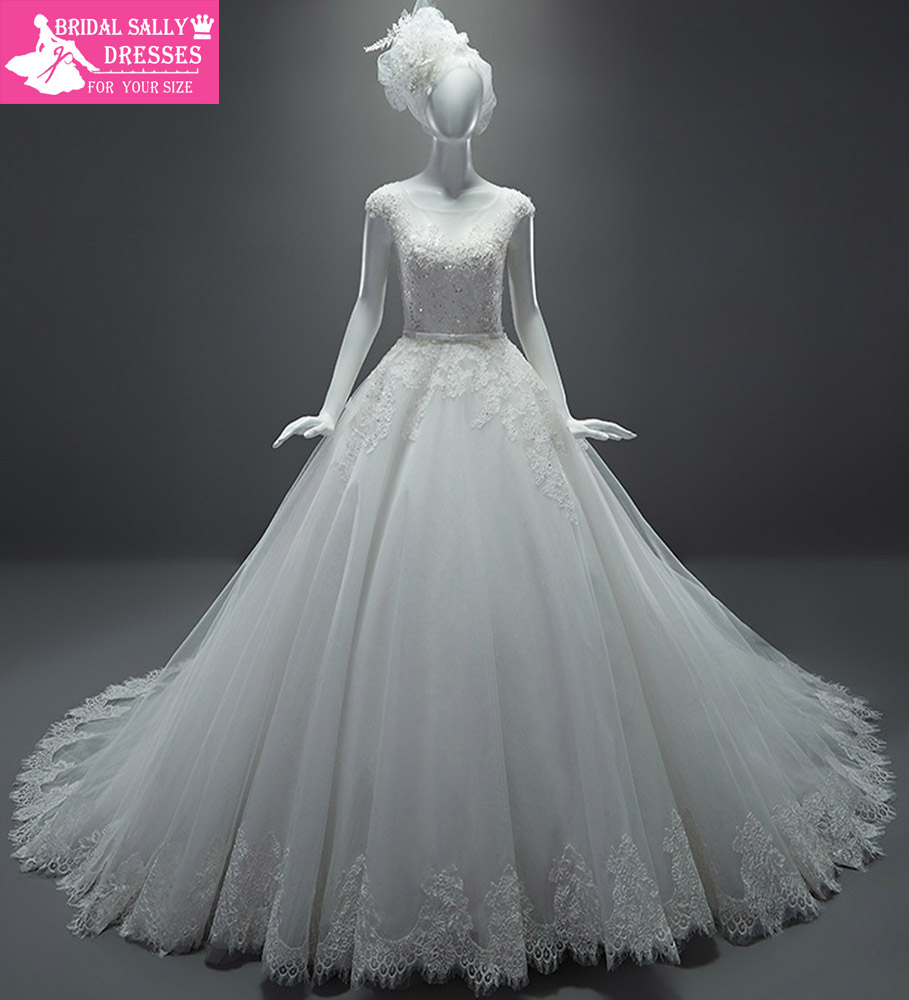 Buy real sample wedding dresses a line for See through lace wedding dress