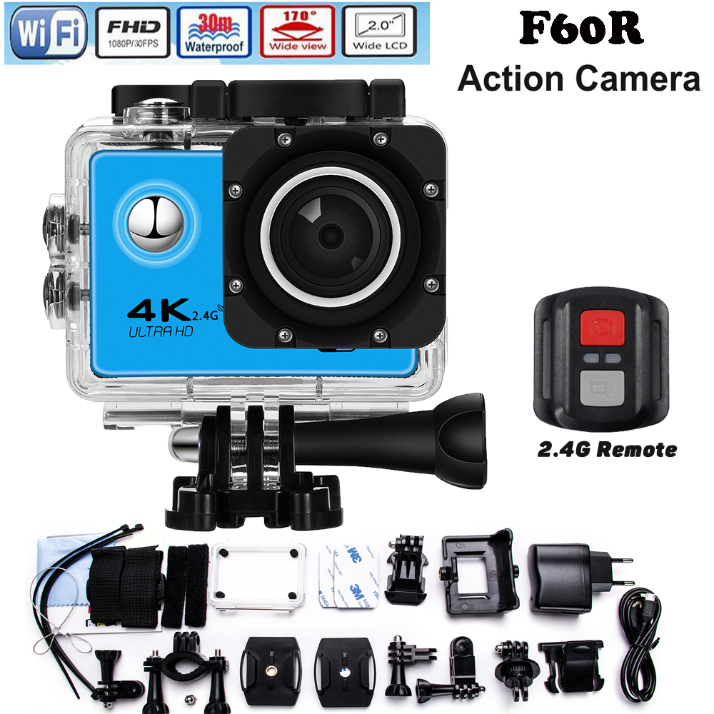 Original Upgraded version F60 / F60R go pro style Ultra HD 4k Action Camera Wifi 2.0 screen 170 Wide Lens waterproof Action cam