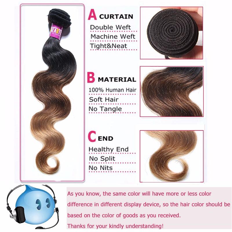Blonde #1B/4/27 Ombre Brazilian Virgin Hair Body Wave 3 Bundles Ombre Hair Extensions Ombre Brazilian Human Hair Weave Bundles