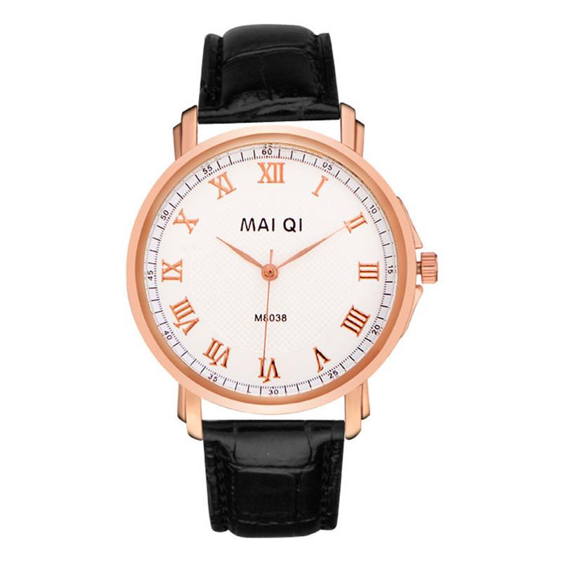 brand men's business 2015 watches Leather quartz watch Ancient Roman numerals Rose gold dial - HY GEM store