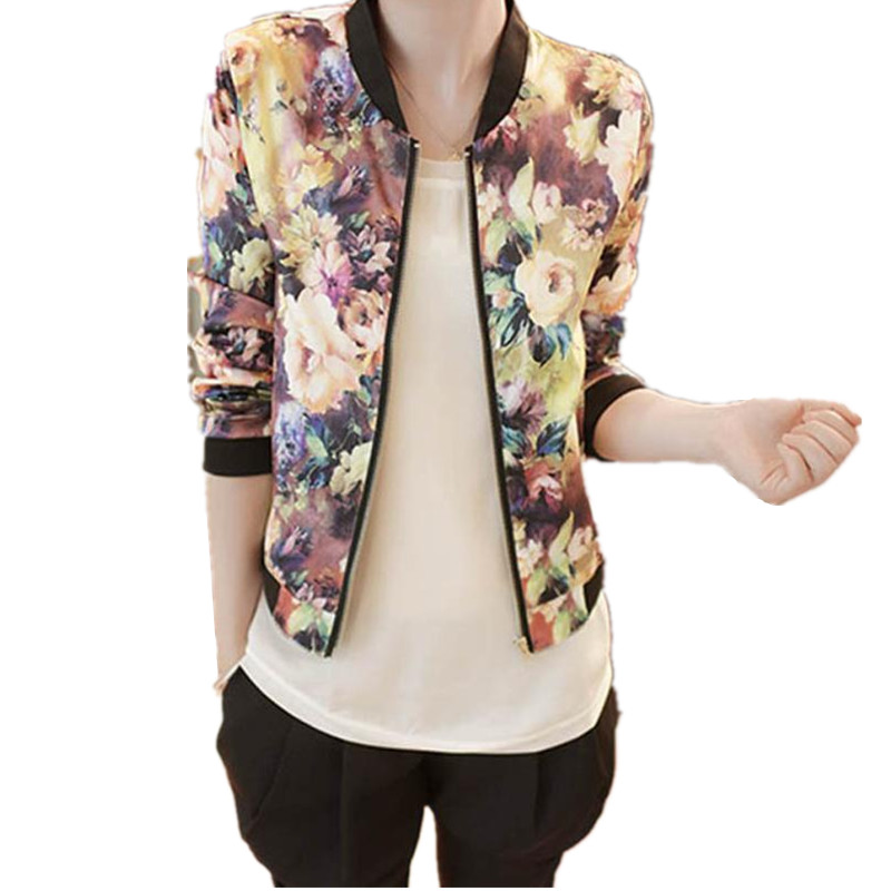 New Women Spring Jackets Short Tops 2017 Long Sleeve Floral Print Coat Vintage Women Clothing Bomber Jacket Chaquetas Muje Sep26