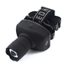 Hot Selling 3 Modes LED Headlamp Zoomable Head Torch Light Head Lamp Headlight Black Power By AAA Battery(China (Mainland))