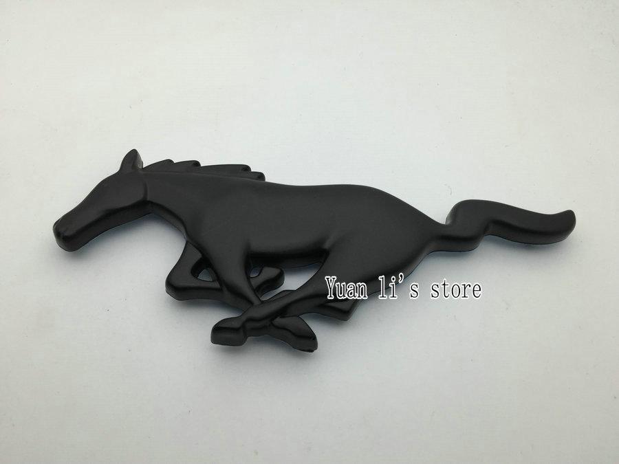 free shipping 10pcs Mustang Matte Black Running Horse 3D Vehicle Emblem Badge stick horse car body stick(China (Mainland))
