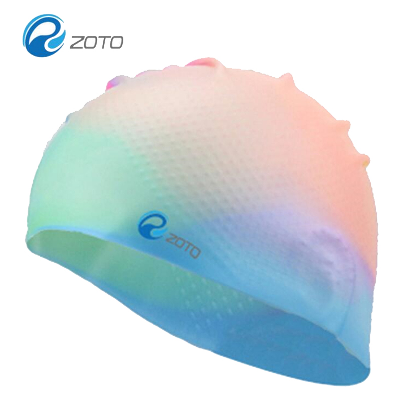 Rubber Protect Ears Long Hair Sports Swim Hat Pool Swimming Cap For Men Women Adults With Bump