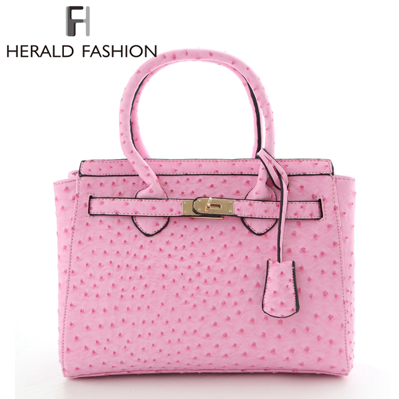 Herald Fashion Bag Women Handbags Brands Ostrich Textures Women Tote Bag Designer Platinum PU Leather Handbag Women Shoulder Bag<br><br>Aliexpress