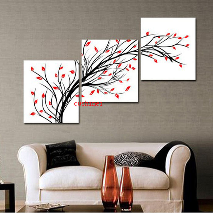 Handpainted 3 Panel Black White Red Wall Art Modern Abstract Oil Painting On Canvas For Living Room Decor Pictures Unique Gift(China (Mainland))