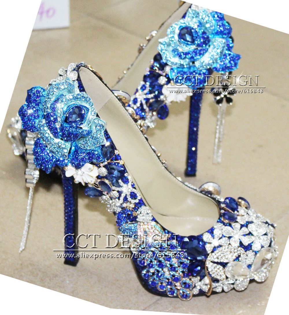 Luxury Handmade Customized Royal Blue Rhinestone Wedding Shoes Peacock and Rose Flower Decorations High Heels<br><br>Aliexpress