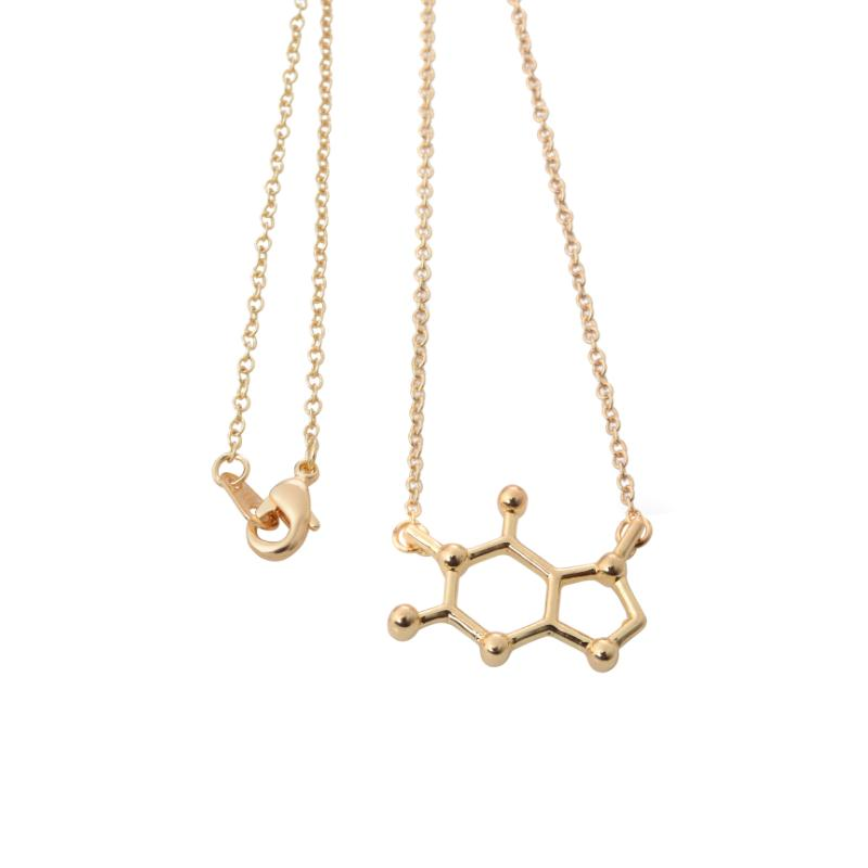 2016 New Arrival Gold plated Caffeine Molecule Women Necklace Dainty Chemistry Elemant Chain Pendant Necklace Jewelry