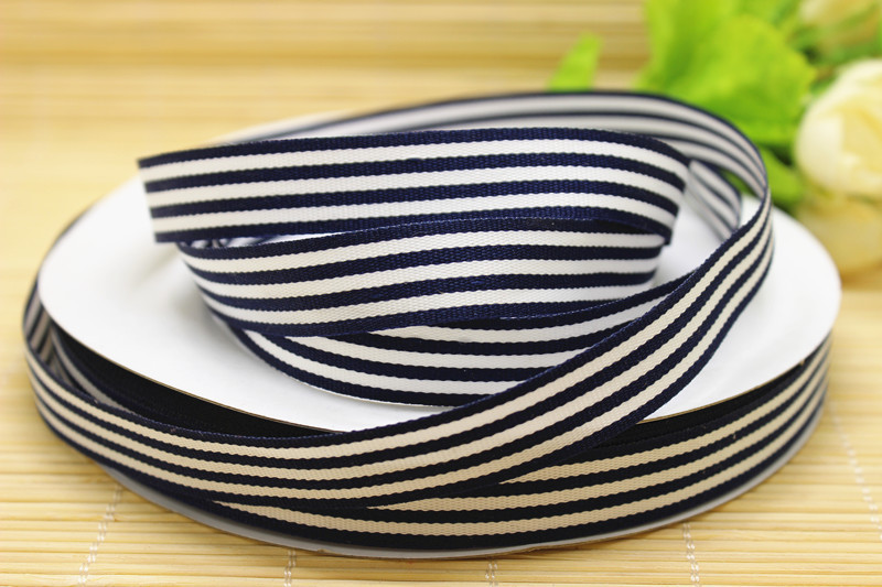 """hot sale wholesale 50Yards /lot 5/8"""" 15-16mm High quality double face 4navy blue 3white striped printed grosgrain ribbon(China (Mainland))"""