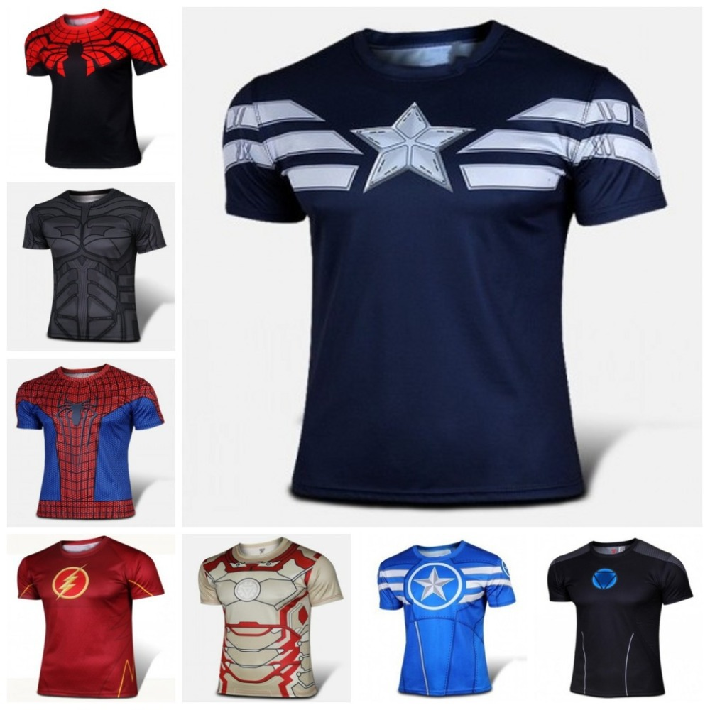 Hot sales 2015 New Marvel Comics Super Heroes Iron Man T-shirt Tony Stark High Quality Short-sleeve Costume T Shirt Cosplay XXXX(China (Mainland))
